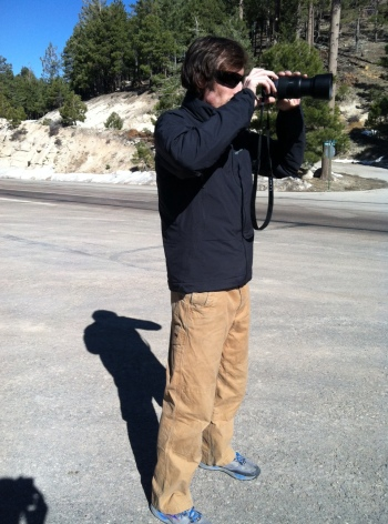 Owen shooting pictures sporting the Mountain Khaki original mountain pants.
